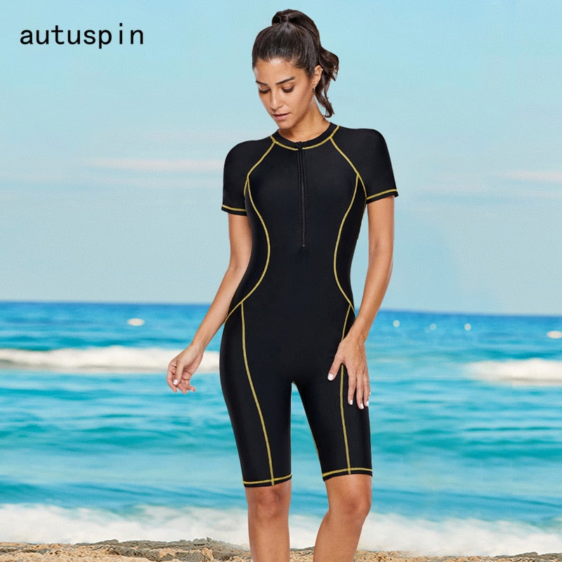 Autuspin Classic Women Swimwear Short Sleeve O Neck Women's Swimsuits Vintage Swimming Bathing Suits Slim New One Piece Bodysuit