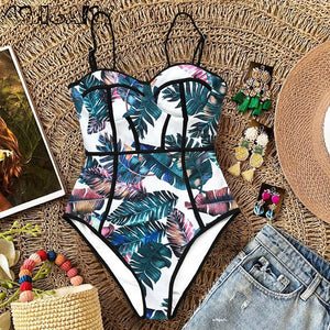 Open image in slideshow, 2020 New Sexy One Piece Swimsuit Women Swimwear Cut Out Bathing Suit Summer Push Up Monokini Print Swim Suit  Beach Wear Female