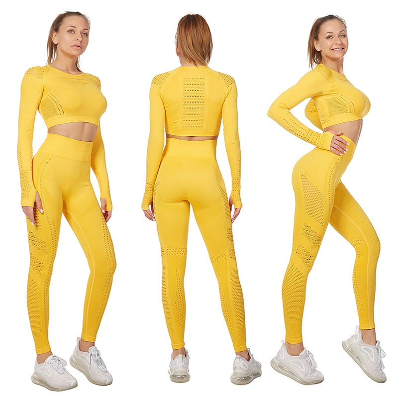 Vital Women Sport Suit Yoga Set Gym Workout Clothes Long Sleeve Fitness Crop Top + High Waist Energy Seamless Leggings
