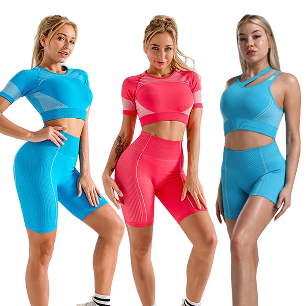 2pcs Women Yoga Set Summer Sport Vital Seamless Sport Suit Bra Gym Clothes Fitness Crop Top Shirt High Waist Shorts Sportswear