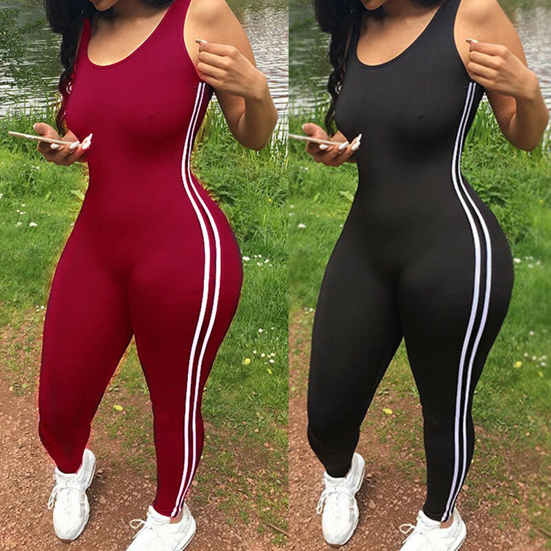 Sexy Women Jumpsuit One Piece Sport Clothing Gym Running Fitness Legging Pants Sleeveless Romper Tracksuit Workout Clothes