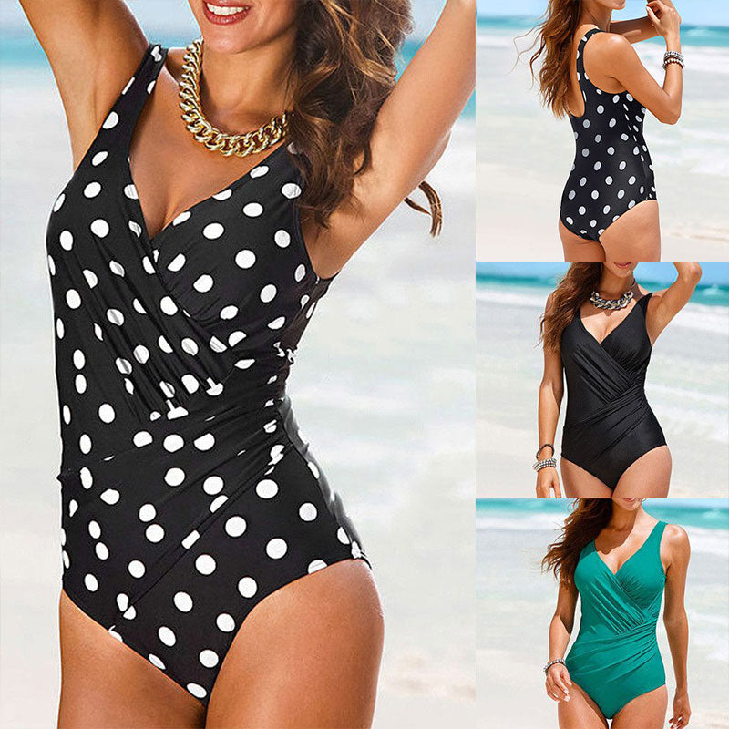 Retro Plus Size Swimwear Women 2020 Solid Big Dot One Piece Swimsuit Large Size Bathing Suit V Neck Swimming Suit for Women