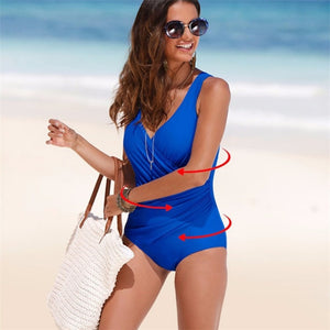 Open image in slideshow, Retro Plus Size Swimwear Women 2020 Solid Big Dot One Piece Swimsuit Large Size Bathing Suit V Neck Swimming Suit for Women