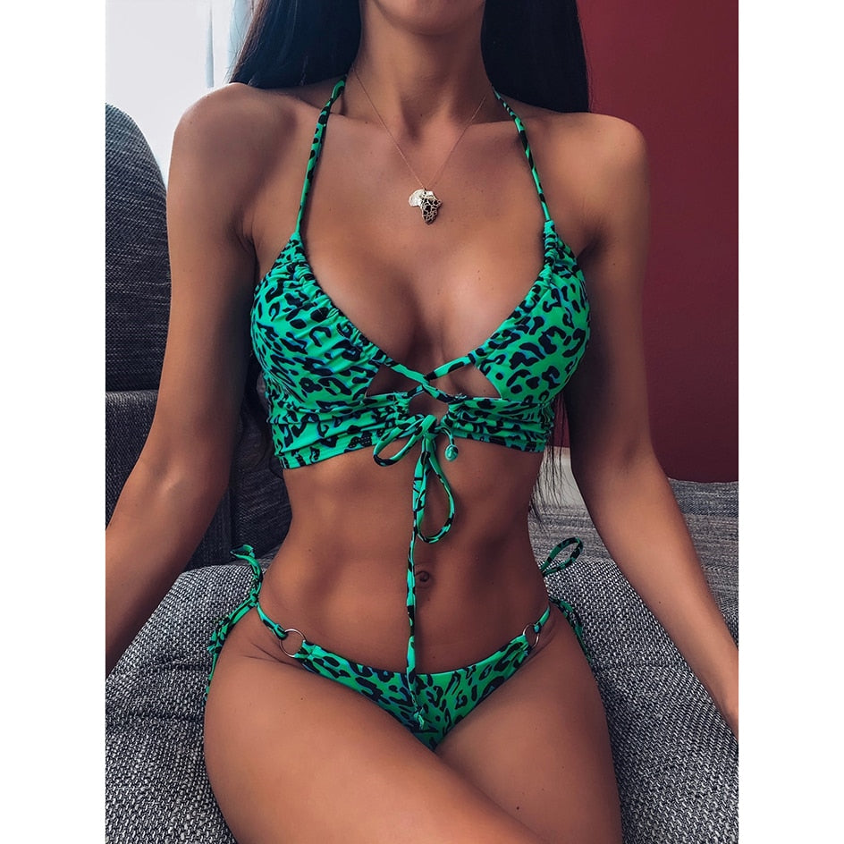 Sexy Push Up Bikini 2020 Mujer Leopard Swimsuit Women Swimwear Bandage Thong Bikini Set Swim Wear for Bathing Suit Woman Biquini