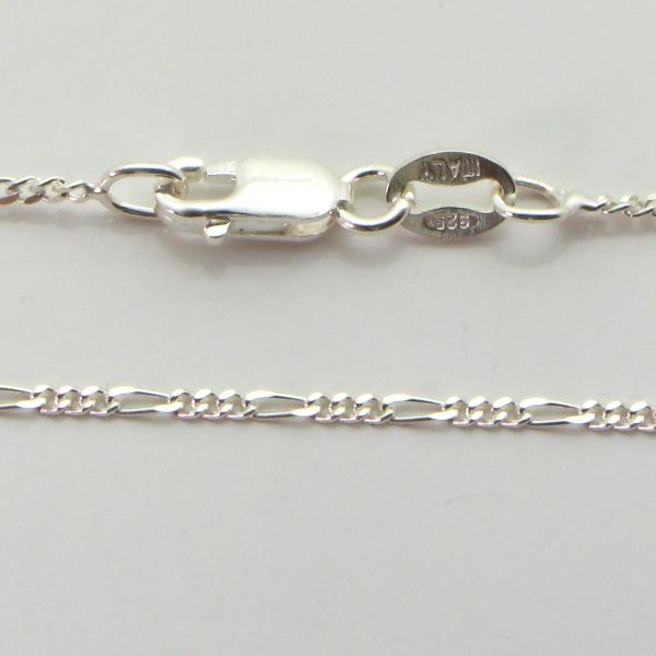 Silver 3+1 Figaro Chains 1.4mm wide 19cm