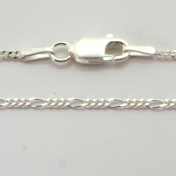 Silver 3+1 Figaro Chains 1.5mm wide 45cm