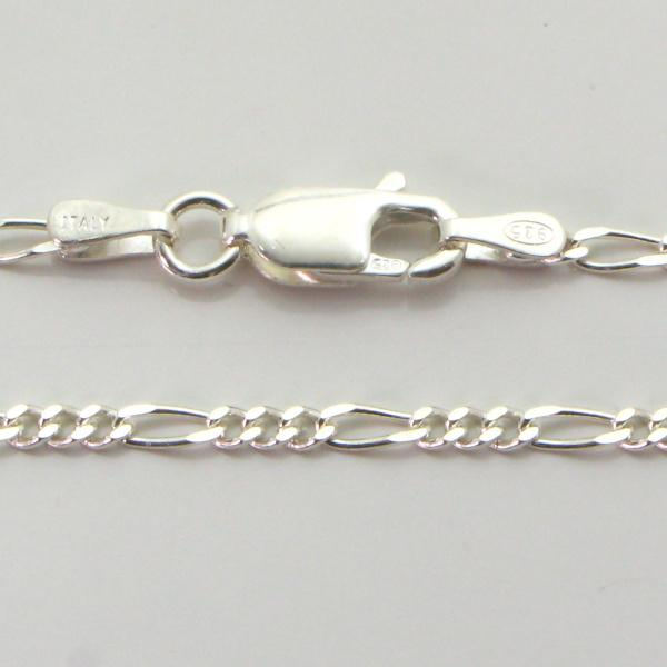 Silver 3+1 Figaro Chains 1.7mm wide 45cm