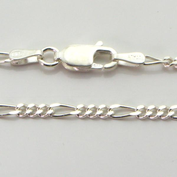 Silver 3+1 Figaro Chains 2.1mm wide 50cm