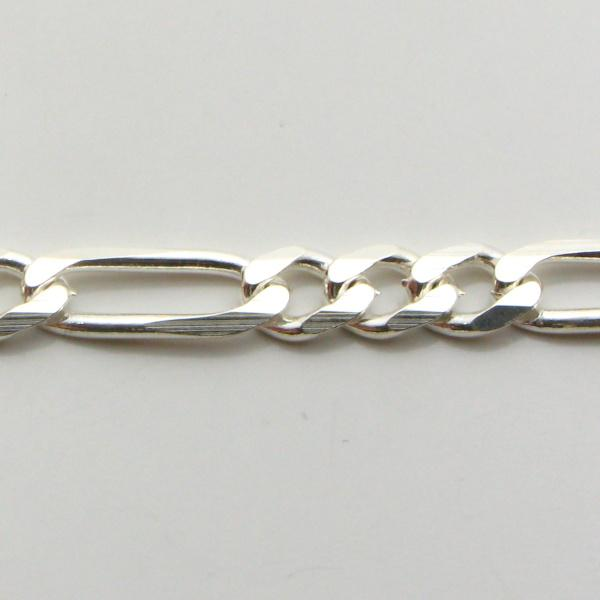 Silver 3+1 Figaro Chains 5mm wide 50cm