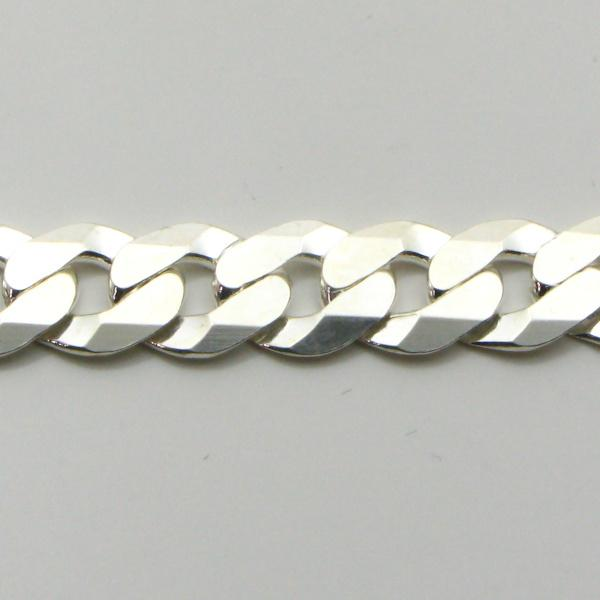 Silver Curb Chains 6.8mm wide 55 cm (Extra Flat)