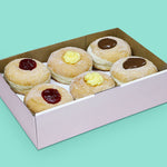 Donut box with jam (vegan-friendly), custard, and nutella donuts