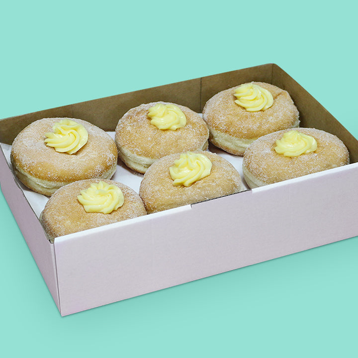 Donut box with custard filled donuts