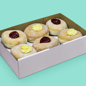 Donut box with custard and jam filled donuts