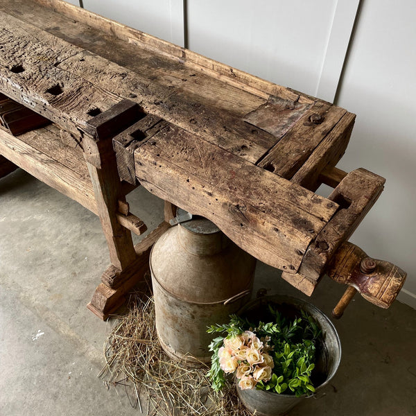 French Country Kitchen Prep Bench Dining Table Native Timbers Matai and Kahikatea