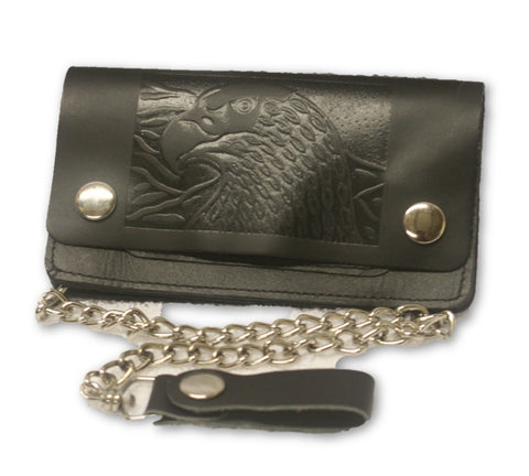 "Leather Eagle embossed 6"" Wallet with chain"
