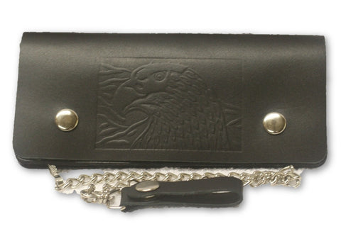 "Leather Eagle embossed 8"" Wallet with chain"