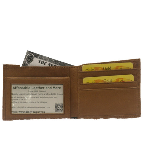 Leather Bifold Wallet - Charging Bison