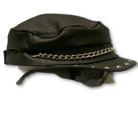 Leather Greek Style Biker Hat - with or without studs and chain