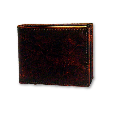 Leather Bifold Wallet - Plain Antiqued Leather - Made in the USA