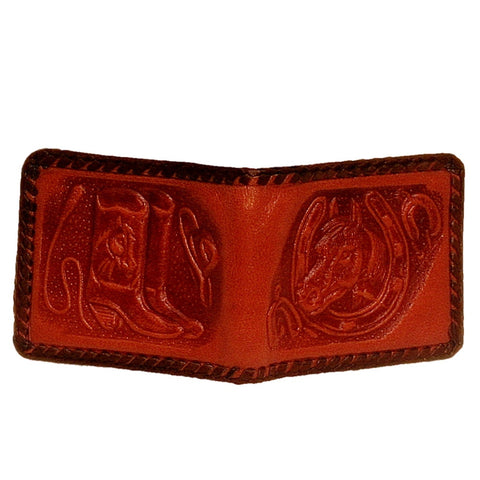 Leather Bifold Wallet - Embossed Horse Head and Cowboy Boots