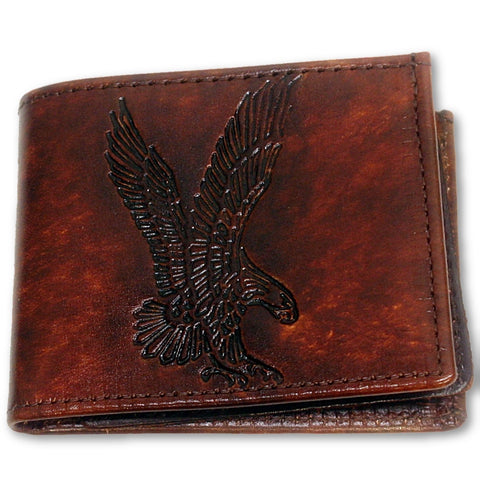 Leather Bifold Wallet - Embossed Eagle Landing - Made in the USA