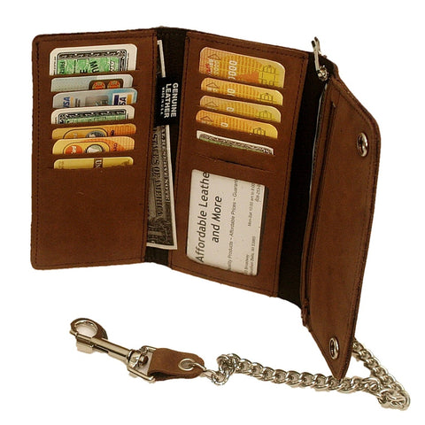 Long Trifold Leather Chain Wallet - Made in the USA