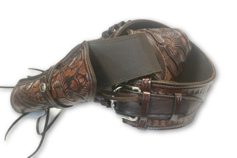 Hand Tooled Brown Leather Gun Belt with Holster  *See important note in description