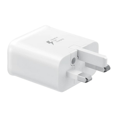Genuine Samsung Fast USB Mains Charger/Travel Adapter For Samsung Galaxy S10 | S10+ (Black/White) - UK Plug