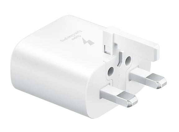 Samsung Original Fast Charging (25W) USB-C UK Plug/Wall Charger, Genuine Charger for Samsung Galaxy Note 20, Note 10, Note 9, Note 8 and Other Galaxy Smartphones – White