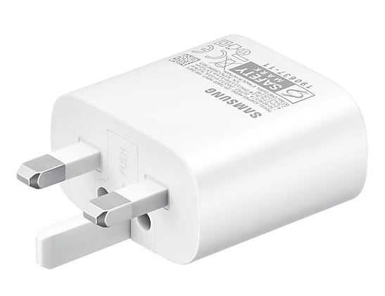 Samsung Original Fast Charging (25W) USB-C UK Plug/Wall Charger, Genuine Charger for Samsung Galaxy S20 FE | S20 | S20+ | S20 Ultra LTE and Other USB Type C Devices – White