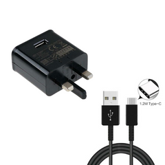 Genuine Samsung Galaxy A30s A40 A50 Fast Mains Charger Plug & 1m Data Cable - Black