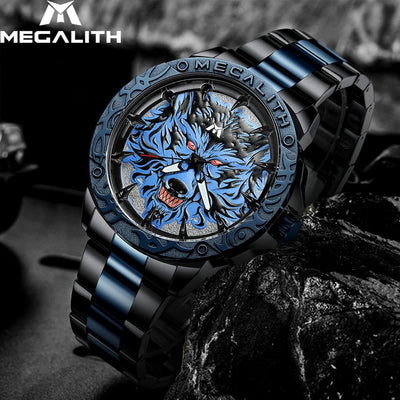 Fashion Wolf Head Embossed Waterproof Stainless Steel Wrist Watch