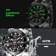 Fashionable Military Watches Men Stainless Steel Band Waterproof Quartz Wristwatch
