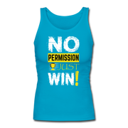 No Permission Women's Fitted Tank - turquoise