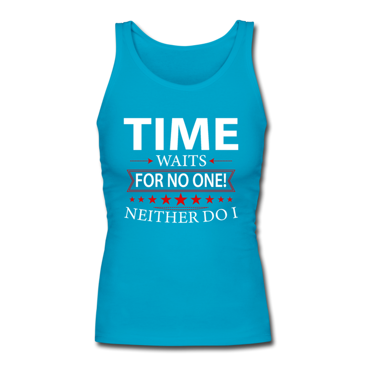 Time Waits Women's Fitted Tank - turquoise