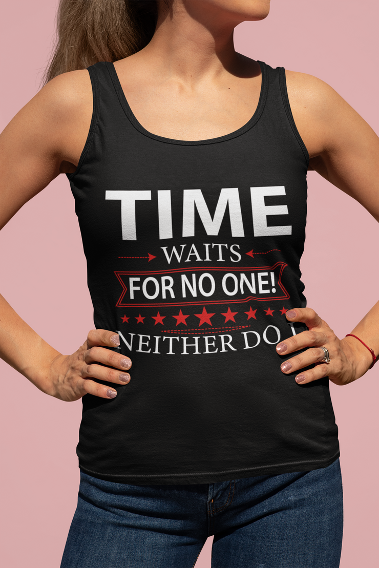 Time Waits Women's Fitted Tank