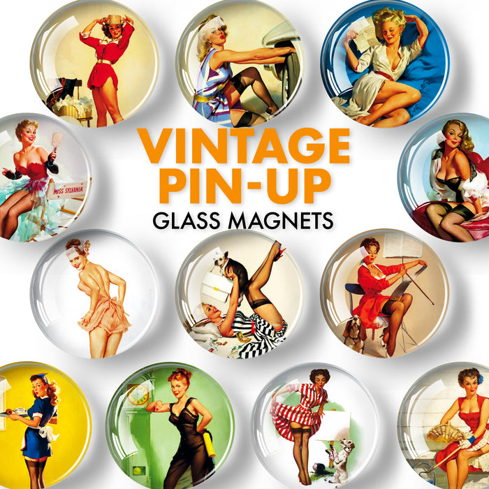 Pinup Glass Decorative Magnets - Decorative Magnets for Fridge - Cute Refrigerator Magnets - Fridge Magnets Cute - 12 Pcs
