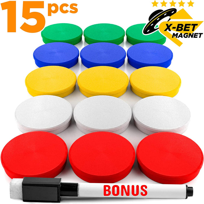 Office Magnets - Colored Fridge Magnets - Refrigerator Magnets for Whiteboard and Locker Magnets - 15 PCs