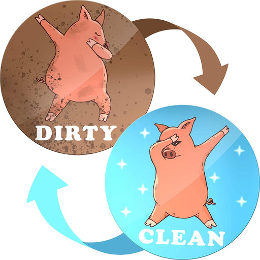 Dishwasher Magnet Clean Dirty Sign Indicator - Magnets for Kitchen - Double Sided Flip - With Bonus Metal Magnetic Plate