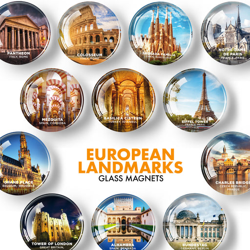 European Landmarks Magnets - Decorative Magnets for Kitchen and Whiteboard - Fridge Magnets Cute Cities - Funny Refrigerator Magnets - 12 Pcs