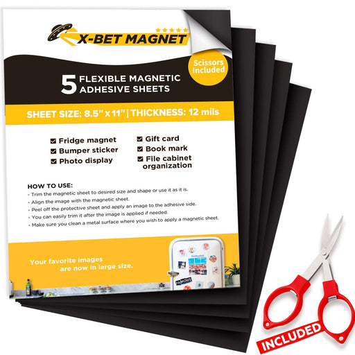 Adhesive Magnetic Sheets - Flexible Magnet Sheets - Sticky Magnetic Paper for Photo - Magnet Stickers - 5 PCs