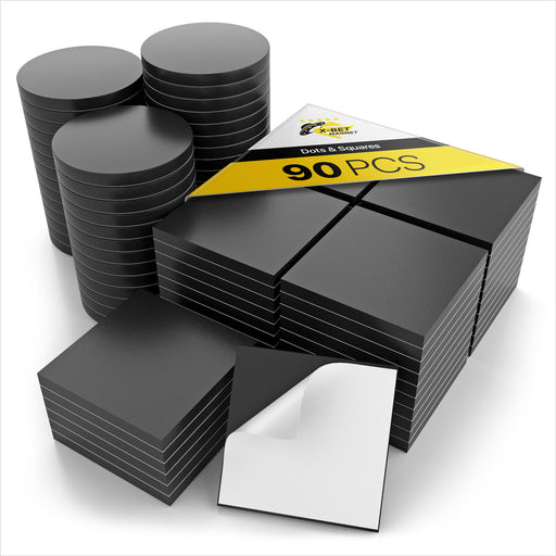 Adhesive Magnetic Squares - Magnetic Dots - Flexible Sticky Magnets - Alternative to Magnetic Stickers and Labels - 90 PCs