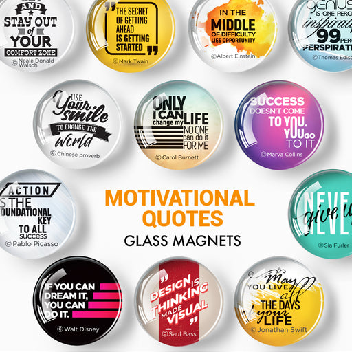 Cute Motivational Magnets - Decorative Magnets for Fridge and Whiteboard - Glass Magnets - 12 Pcs