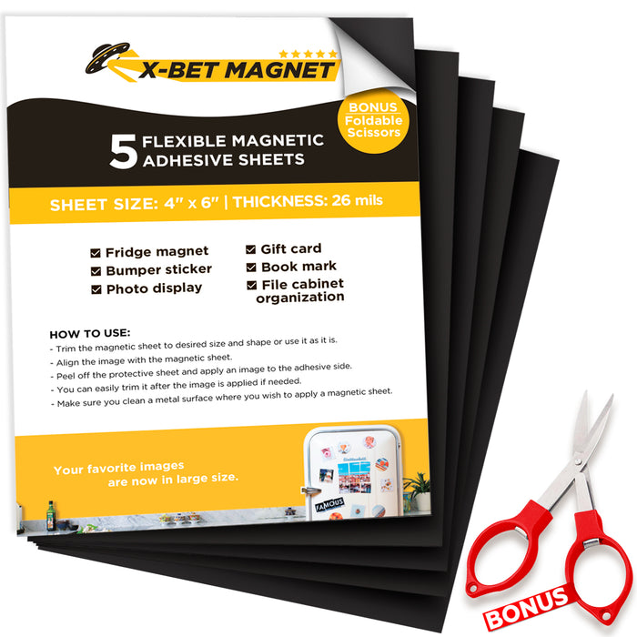 "Magnetic Sheets with Adhesive Backing - 4"" x 6"" - Flexible Magnet Sheets for DIY and Crafts - Magnetic Paper - 5 PCs"