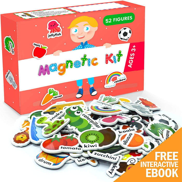 Educational Magnetic Toys - Foam Magnets for Toddlers - Refrigerator Magnets for Kids - 52 PCs