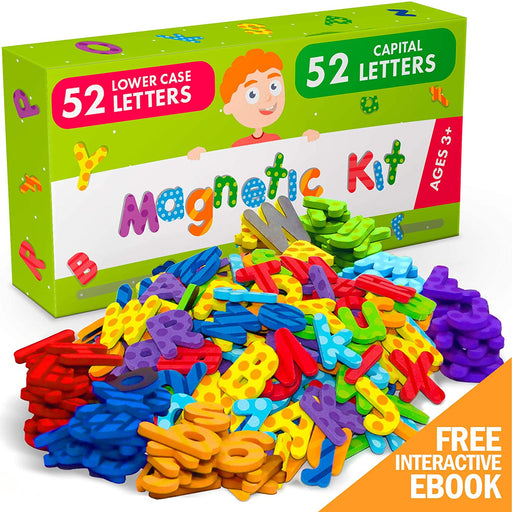 104 PCs Premium Foam Magnetic Letters - ABC Magnets - Alphabet Magnets for Toddlers and Kids