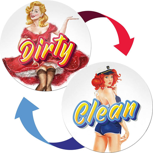 Clean Dirty Dishwasher Magnet Retro Pinup - Housewarming Gifts New Home - Creative Gifts for Husband from Wife
