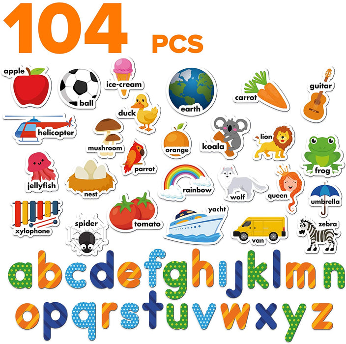 Foam Magnets for Kids - Magnetic Letters for Toddlers - ABC Alphabet Magnets for Fridge - Baby Magnets - 104 PCs