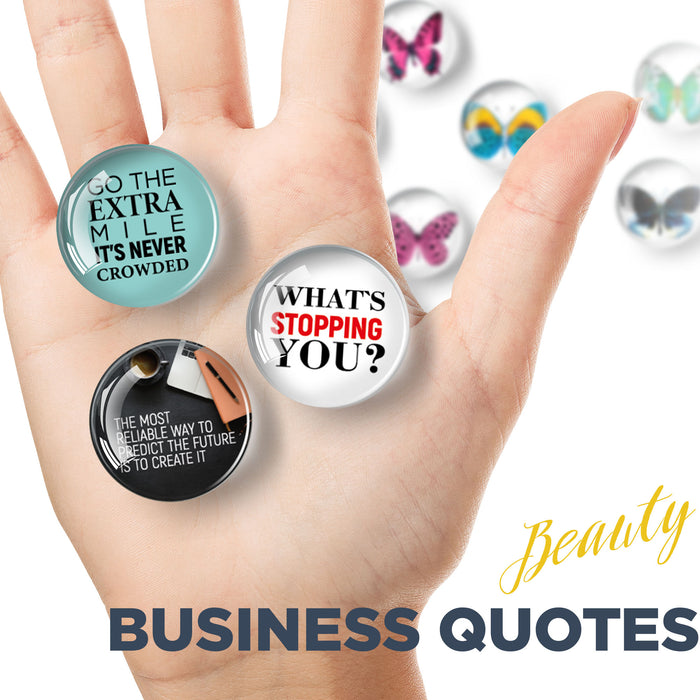 Business Quotes - Glass Motivational Magnets - Decorative Magnets for Fridge - Glass Magnets Funny - 12PCs