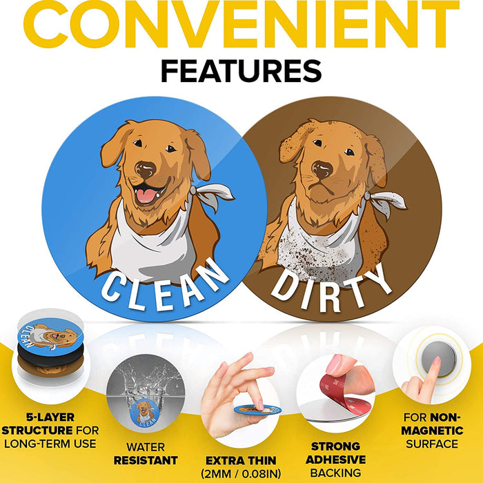Clean Dirty Dishwasher Magnet Funny Golden Retriever - Waterproof and Double Sided Flip